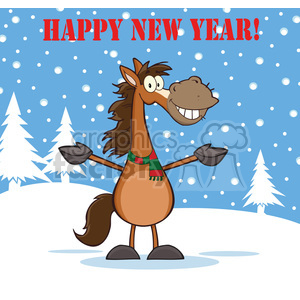 6874_Royalty_Free_Clip_Art_Happy_New_Year_Greeting_With_Smiling_Horse_Cartoon_Mascot_Character_Over_Winter_Landscape clipart. Royalty-free image # 393107