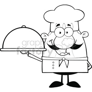 6835_Royalty_Free_Clip_Art_Black_and_White_Happy_Chef_Cartoon_Character_Holding_A_Platter clipart. Royalty-free image # 393117