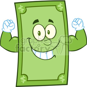 6860_Royalty_Free_Clip_Art_Smiling_Dollar_Cartoon_Character_Showing_Muscle_Arms clipart. Royalty-free image # 393127