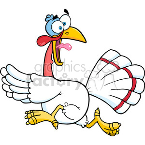 6888_Royalty_Free_Clip_Art_White_Turkey_Escape_Cartoon_Mascot_Character clipart. Commercial use image # 393137