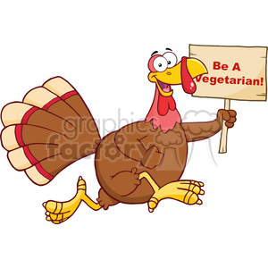 6956 Royalty Free RF Clipart Illustration Happy Turkey Bird Cartoon Character Running With A Blank Wood Sign clipart. Commercial use image # 393147