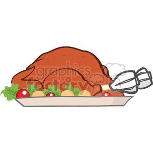 Royalty Free RF Clipart Illustration Roasted Turkey Cartoon Illustration clipart. Commercial use image # 393169