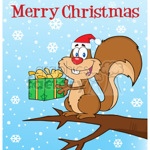 Royalty Free RF Clipart Illustration Happy Squirrel With Santa Hat Holding A Gift Under Merry Christmas Text clipart. Royalty-free image # 393179
