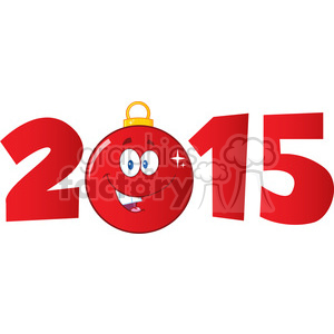 7006 Royalty Free RF Clipart Illustration 2015 Year With Cartoon Red Christmas Ball clipart. Royalty-free image # 393194