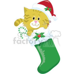 kitten in a stocking 1 clipart. Commercial use image # 393417