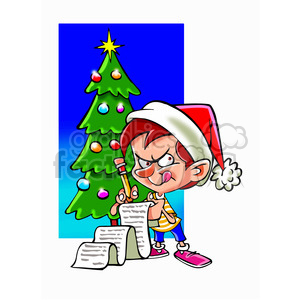cartoon kid checking santas list clipart. Royalty-free image # 393425
