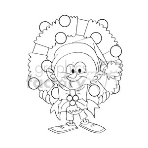 cartoon guy holding christmas wreath black white clipart. Commercial use image # 393445