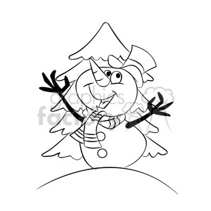 snowman cartoon black white clipart. Commercial use image # 393475