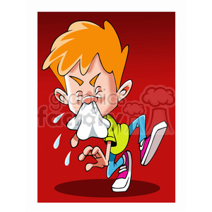 kid sick with cold sneezing clipart. Commercial use image # 393495