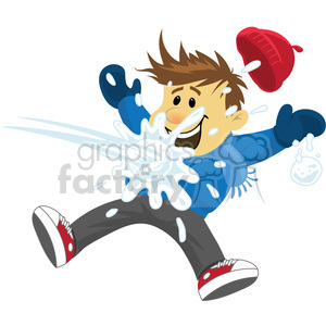 winter fun hit with snowball clipart. Commercial use image # 393525