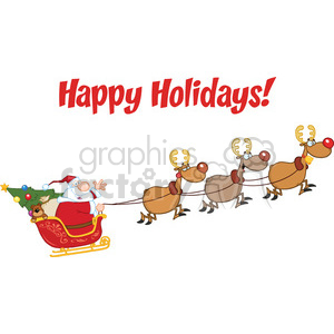 Happy Holidays Greeting With Santa Claus In Flight With His Reindeer And Sleigh clipart. Royalty-free image # 393595