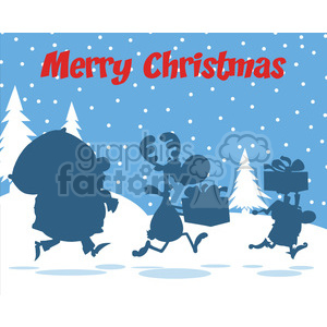 Merry Christmas Greeting With Santa Claus Reindeer And Elf Silhouettes clipart. Royalty-free image # 393605
