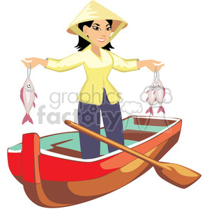 asian female fishing clipart. Royalty-free image # 393646