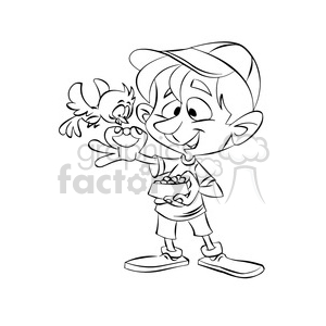 vector black and white image of a child feeding a bird clipart. Royalty-free image # 393666