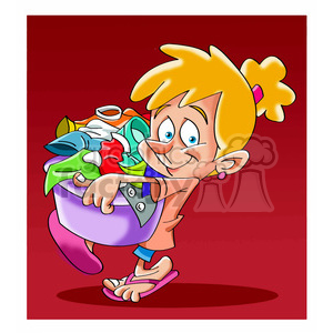 vector child carrying a laundry basket clipart. Royalty-free image # 393696