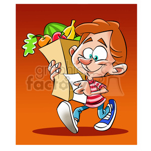 vector child carrying a grocery bag full of food clipart. Commercial use image # 393736