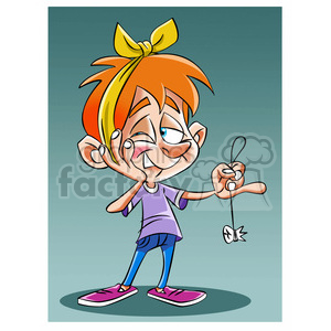 vector child pulling a tooth with a string clipart. Royalty-free image # 393756