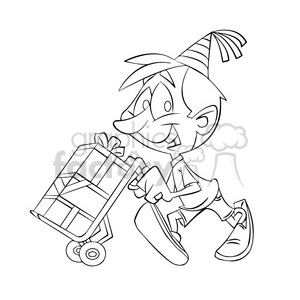 black white image of kid carrying gifts on a moving dolly clipart. Commercial use image # 393916