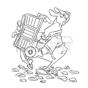 black and white image of moving guy carrying a dolly cargador negro clipart. Commercial use image # 393956