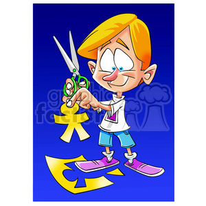 image of boy cutting paper people tijeras clipart. Commercial use image # 394036