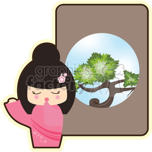 Geisha Yawn cartoon character illustration clipart. Royalty-free image # 394196