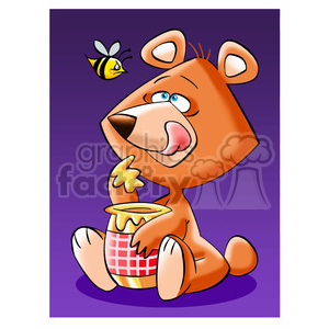 cartoon bear eating honey from jar