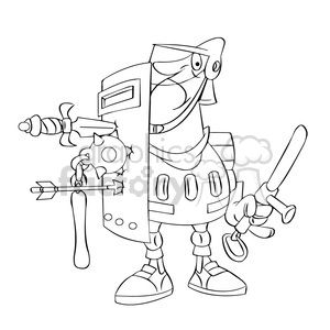 drawing of police with weapons stuck in his shield clipart. Royalty-free image # 394327