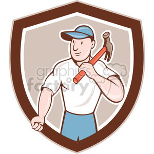 builder carpenter hammer shoulder SHIELD clipart. Royalty-free image # 394337