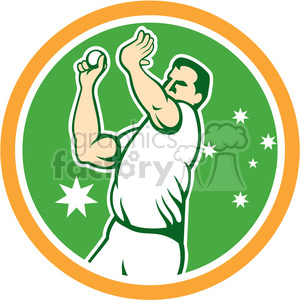 AUSSIE cricketplayer bowling front CIRC clipart. Commercial use image # 394357