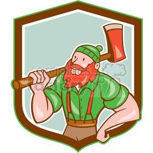 paul bunyan carry axe front SHIELD clipart. Royalty-free image # 394367