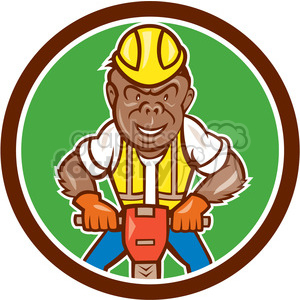 GORILLA construction worker jackhammer CIRC clipart. Royalty-free image # 394377