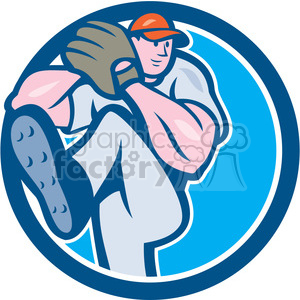pitcher throw leg up CIRC clipart. Royalty-free image # 394417