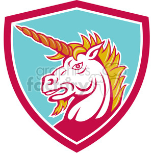 angry unicorn crest SHIELD clipart. Commercial use image # 394447
