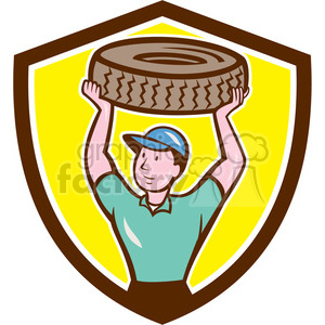 mechanic carrying a tire clipart. Commercial use image # 394457