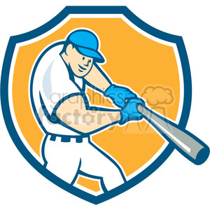 baseball hitter bat side low SHIELD CR clipart. Royalty-free image # 394467