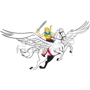 valkerie riding flying horse ISO clipart. Commercial use image # 394477