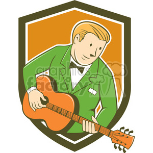 guitarist playing guitar SHIELD clipart. Royalty-free image # 394487