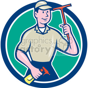 window cleaner squegee standing CIRC clipart. Royalty-free image # 394517