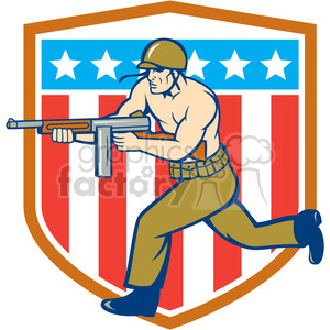 soldier running tommy gun USA FLAG SHIELD clipart. Commercial use image # 394527