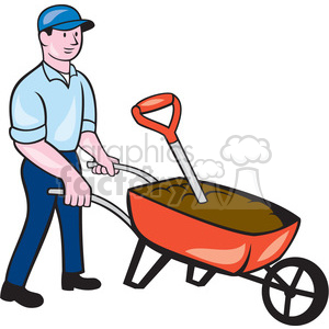 gardener wheelbarrow ISO clipart. Commercial use image # 394537