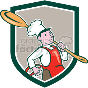 chef cook marching spoon SHIELD clipart. Commercial use image # 394557