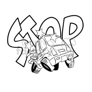 car accident stop illustration black and white clipart. Royalty-free image # 394717