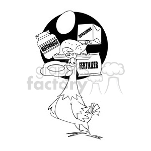 chicken thinking about their effect on humanity black and white clipart. Commercial use image # 394787