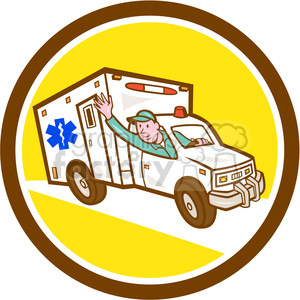 ambulance vehicle emt worker waving CIRC clipart. Royalty-free image # 394536