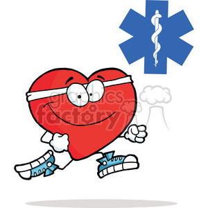 Healthy Red Heart Character Running Past in Red Cross clipart. Royalty-free image # 378198