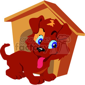 Cartoon brown puppy in front of his dog house