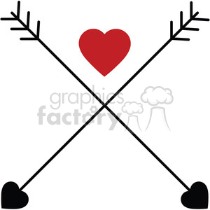 two arrows crossed with heart clipart. Commercial use image # 394859