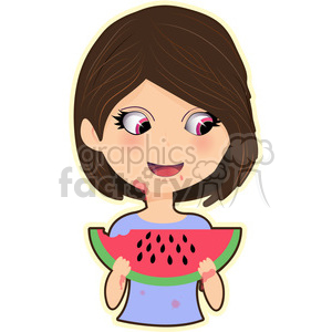 Watermelon Girl cartoon character vector image clipart. Royalty-free image # 394900