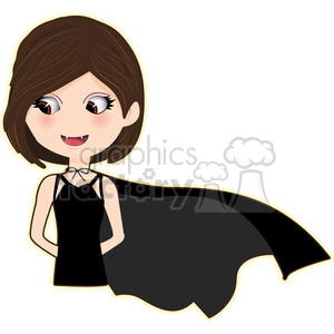 Vampire Girl cartoon character vector image clipart. Royalty-free image # 394940