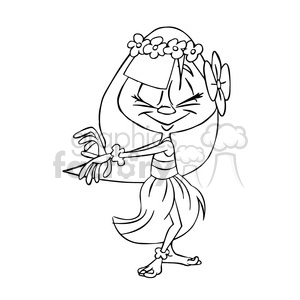 hula dancer black and white clipart. Commercial use image # 395113
